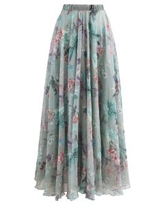 Exuberant Floral Chiffon Maxi Skirt in Green