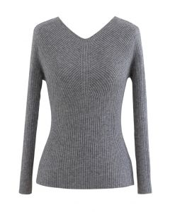 Seamless V-Neck Ribbed Knit Top in Grey