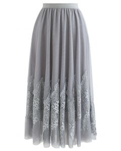 Tassel Lace Double-Layered Tulle Mesh Skirt in Grey