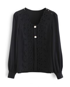 Embroidered Floral Button Trim Top in Black