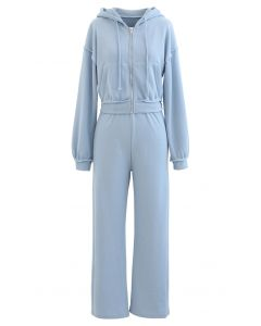Crop Rib Zipper Hoodie and Straight Leg Pants Set in Blue