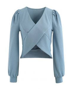 Crisscross Long Sleeves Crop Top in Blue