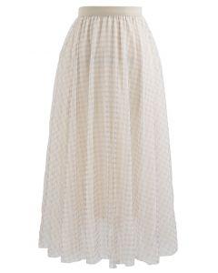 Metallic Thread Double-Layered Tulle Mesh Skirt in Cream