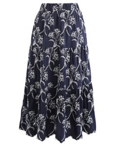 Embroidered Flowers Midi Skirt in Navy