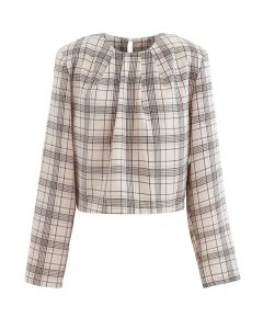 Padded Shoulder Plaid Cropped Mock Top in Sand