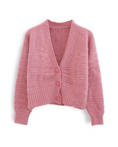 V-Neck Button Down Fuzzy Knit Cardigan in Pink