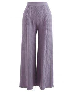 Wavy Textured Knit Pants in Purple
