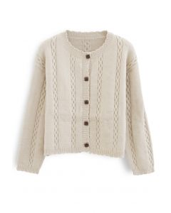 Chain Pattern Button Down Knit Cardigan in Sand