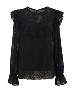 Ruffle Embroidered Floral Chiffon Top in Black