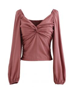 Twist Front Shirred Back Crop Top in Coral