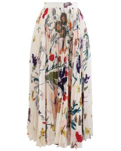 Tropical Floral Print Pleated Midi Skirt