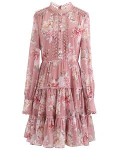 Floral Print Crochet Trim Frilling Chiffon Dress in Pink
