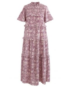 Ruffle Detail Floral Shirred Dress