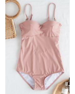 Bustier Open Back One-Piece Swimsuit in Pink