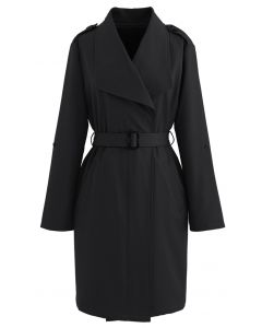 Belted Pocket Drape Neck Coat in Black