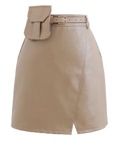 Belted Pocket Faux Leather Mini Bud Skirt in Tan