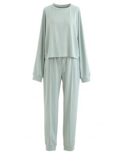 Raw-Cut Hem Sweatshirt and Seamed Pants Set in Mint