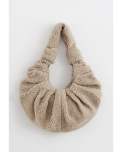 Teddy Shoulder Croissant Bag in Sand