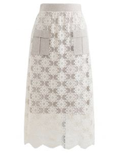 Pocket Trims Floral Lace Knit Midi Skirt