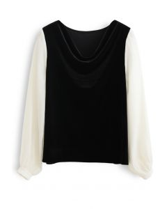 Velvet Drape Neck Versatile Shirt in Black