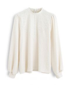 Crochet Panelled Puff Sleeves Smock Top in Cream