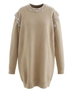 Pearl Decoration Longline Sweater in Camel