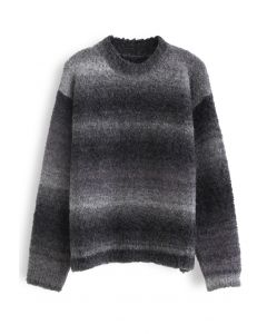 Ombre Striped Oversized Knit Sweater in Smoke