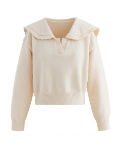 Peter Pan V-Neck Knit Crop Sweater in Cream