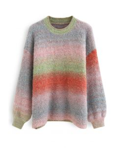 Ombre Striped Oversized Knit Sweater in Grey