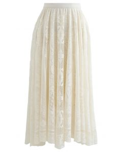 Divine Floral Lace Midi Skirt in Cream