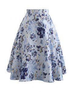 Blue Floral Embossed Jacquard Midi Skirt