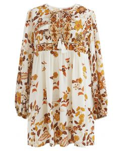 Long-Sleeve Floral Tassel Dolly Tunic in Ivory