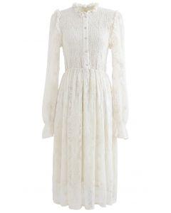 Creamy Shirred Embroidered Mesh Midi Dress