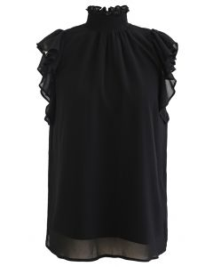 Shirred Mock Neck Ruffle Sleeveless Top in Black