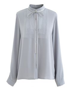 Ribbon Tie Mesh Neck Satin Shirt in Dusty Blue