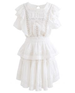 Short Sleeves Ruffle Crochet Tiered Dress