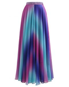 Tie Dye Chiffon Maxi Skirt in Purple