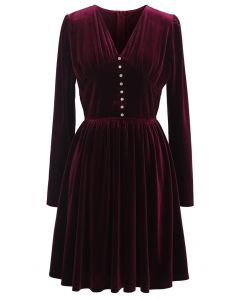 Button Trim V-Neck Ruched Velvet Dress in Wine