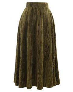 Velvet Flare Hem Midi Skirt in Moss Green