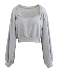 Puff Sleeve Cropped Sweatshirt in Grey