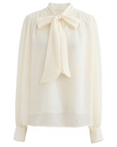 Bowknot Pearl Trim Semi-Sheer Shirt in Cream