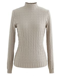 Maze Embossed High Neck Fitted Knit Top in Sand