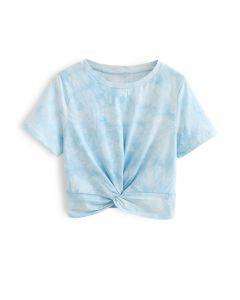 Twist Hem Tie Dye Crop Top in Sky Blue