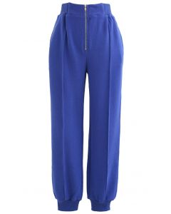Zip Front Side Pocket Joggers in Blue