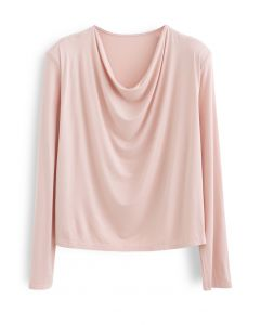 Drape Neck Padded Shoulder Top in Pink