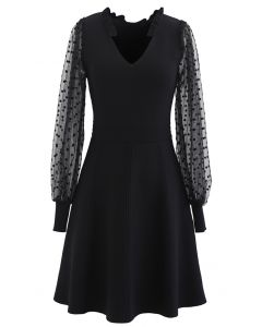 Sheer Dotted Sleeves V-Neck Knit Dress in Black