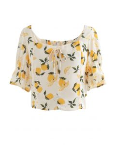 Lemon Print Square Neck Bowknot Crop Top