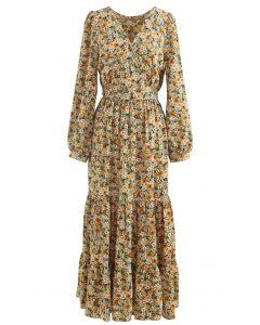 Ditsy Floral Frilling Wrap Dress