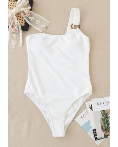 O-Ring One-Shoulder Swimsuit in White