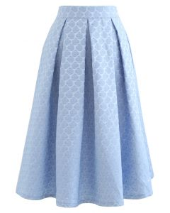 Embossed Rose Pleated Midi Skirt in Blue
